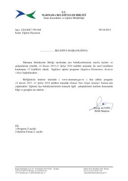 Eğitim Programı - Marmara Belediyeler Birliği