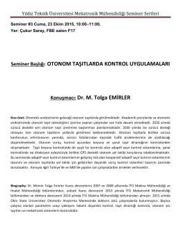 Yıldız Teknik Üniversitesi Mekatronik Mühendisliği Seminer Serileri