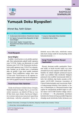 Yumuşak Doku Biyopsileri - Türk Radyoloji Seminerleri