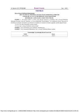 T.C. Resmi Gazete - Aile ve Sosyal Politikalar Bakanlığı