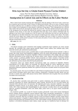 Orta Asya`da Göç ve Göçün Emek Piyasası Üzerine Etkileri