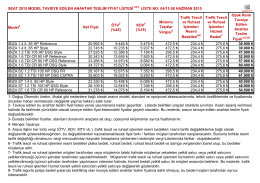 Model Net Fiyat ÖTV5 (%45) KDV (%18) Motorlu