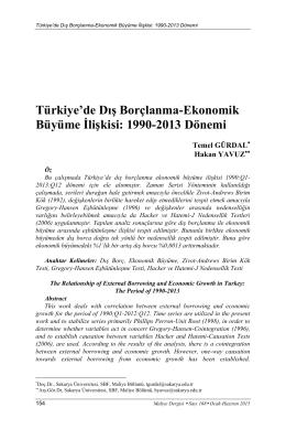 Türkiye`de Dış Borçlanma-Ekonomik Büyüme İlişkisi: 1990
