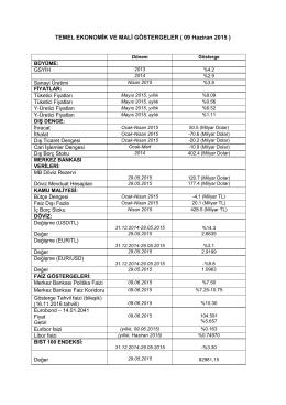TEMEL EKONOMİK VE MALİ GÖSTERGELER (30 Kasım - T-Bank