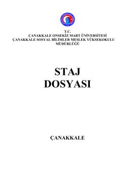 staj dosyası - Çanakkale Sosyal Bilimler Meslek Yüksekokulu