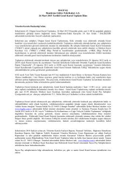 BAGFAŞ Bandırma Gübre Fabrikaları A.Ş. 26 Mart 2015 Tarihli