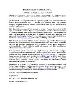idaş-istanbul döşeme sanayii a.ş. yönetim kurulu başkanlığı`ndan