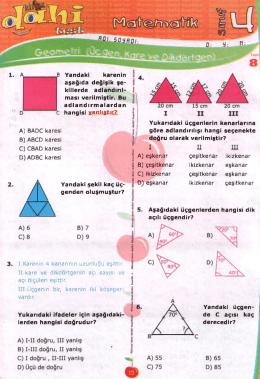 4.sınıf mat. üçgen kare dikdörtgen testi