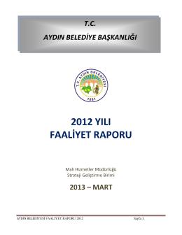 2012 YILI FAALİYET RAPORU