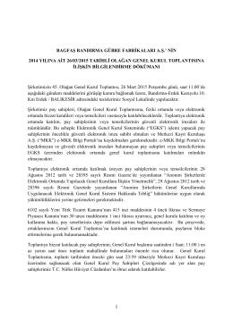 nin 2014 yılına ait 26/03/2015 tarihli olağan genel kurul