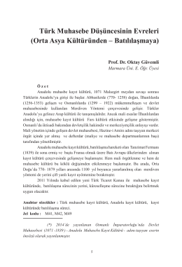 Türk Muhasebe Düşüncesinin Evreleri (Orta Asya