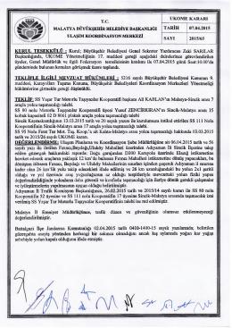 malatya büyükşehir belediye başkanlığı tarih 07.04.2015 ulaşım