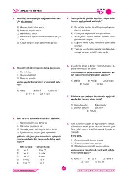 BOŞALTIM SİSTEMİ TEST 1. Pronefroz böbrekler