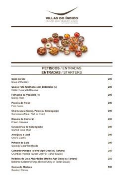 PETISCOS / ENTRADAS ENTRADAS / STARTERS