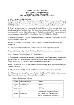 Özel Yetenek Sınav Esasları - Mehmet Akif Ersoy Üniversitesi Beden