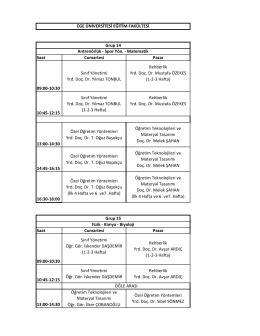 Saat Cumartesi Pazar 09:00-10:30 Sınıf Yönetimi