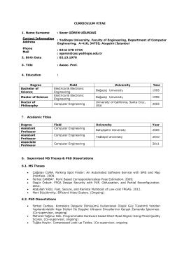 CV - Yeditepe Üniversitesi Bilgisayar Mühendisliği Bölümü
