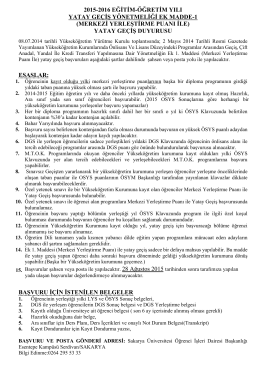 2015-2016 eğitim-öğretim yılı yatay geçiş yönetmeliği ek madde-1