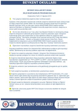BEYKENT OKULLARI MYP GRUBU BİLGİ OKURYAZARLIĞI
