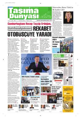 Taşıma Dünyası Gazetesi-189 PDF 1 Haziran 2015 tarihli sayısını