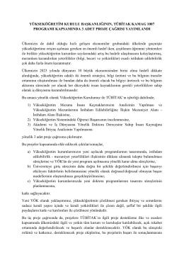 Yükseköğretim Kurulu Başkanlığının, Tübitak Kamag 1007 Programı