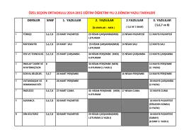 özel seçkin ortaokulu 2014-2015 eğitim öğretim yılı 2.dönem yazılı