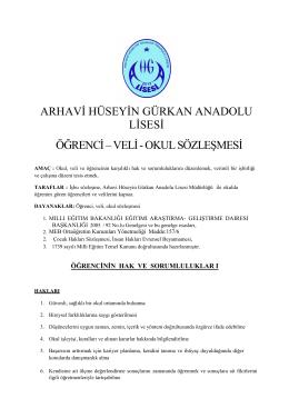 Öğrenci-Veli-Okul Sözleşmesi - Arhavi Hüseyin Gürkan Anadolu Lisesi