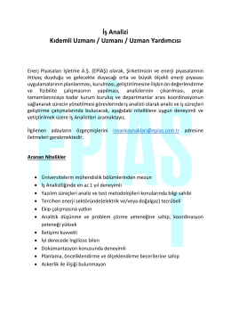 İş Analizi Kıdemli Uzmanı / Uzmanı / Uzman Yardımcısı