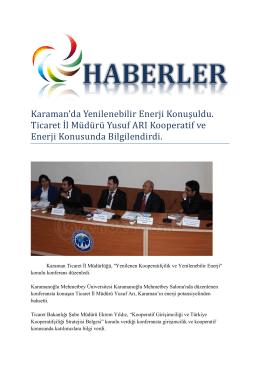 Karaman`da Yenilenebilir Enerji Konuşuldu. Ticaret İl Müdürü Yusuf