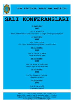 salı konferansları - Türk Kültürünü Araştırma Enstitüsü