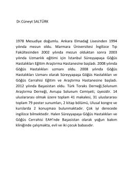 Özgeçmiş - Süreyyapaşa Göğüs Hastalıkları Hastanesi