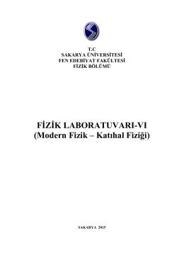 Modern Fizik – Katıhal Fiziği - Fizik Bölümü