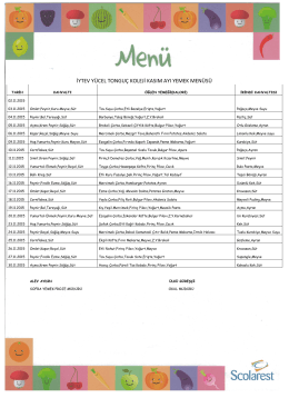 Kasım`15 Yemek Listesi