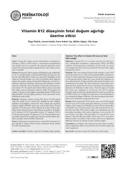 Vitamin B12 düzeyinin fetal do¤um a¤›rl