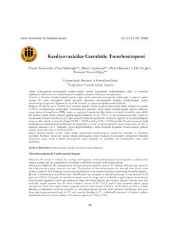 Kardiyovasküler Cerrahide Trombositopeni