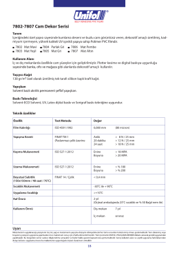 7802-7807 Cam Dekor Serisi Data Sheet