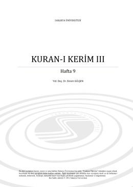kuran-i keri̇m iii - Sakarya Üniversitesi