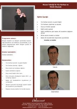 Eğitim İçeriği: Riccon Tekniği ile Yüz Haritası ve Mimik Okumak