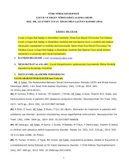 currıculum vıtae - Bolu İzzet Baysal Ruh Sağlığı ve Hastalıkları