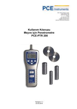 Kullanım Kılavuzu Meyve için Penetrometre PCE