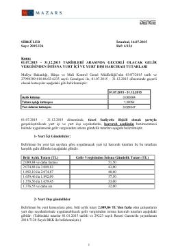 01.07.2015 – 31.12.2015 TARİHLERİ ARASINDA