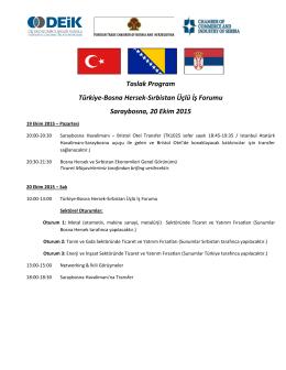 Taslak Program Türkiye-Bosna Hersek