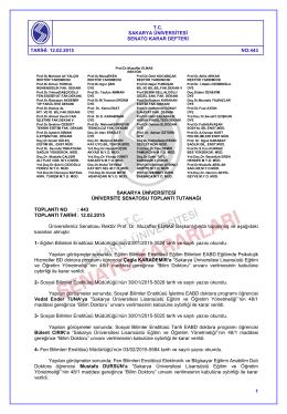 SAKARYA ÜNİVERSİTESİ - SENATO / ÜYK Kararları