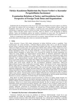 Türkiye Kazakistan İlişkilerinin Dış Ticaret Verileri ve Kurumlar