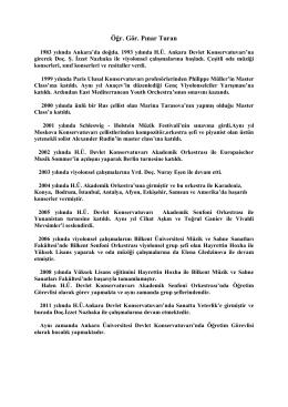 Öğr. Gör. Pınar Turan - Hacettepe Üniversitesi Ankara Devlet