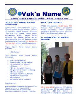Vak`a Name - İşletme İktisadı Enstitüsü