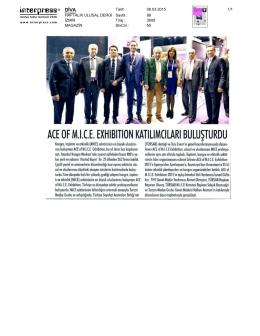ACE of M.I.C.E. Exhibition Katılımcıları Buluşturdu.