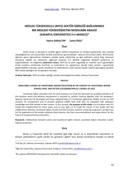 sektör işbirliği bağlamında bir mesleki yükseköğretim - E-JOIR
