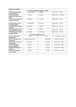 MA and PhD Fall Term Schedule for ELT & ELIT.