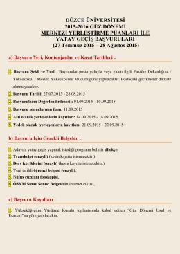 DÜZCE ÜNİVERSİTESİ 2015-2016 GÜZ DÖNEMİ MERKEZİ